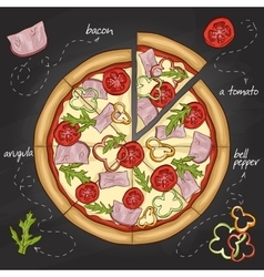 Pizza with bacon color picture sticker vector image