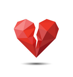 polygon red broken heart icon for valentines day vector image