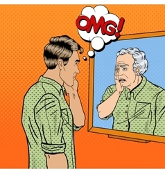 Pop Art Shocked Man Looking at Older Himself vector image