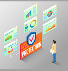 Protection reports isometric flow chart vector