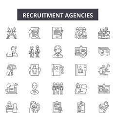 recruitment agencies line icons signs set vector image