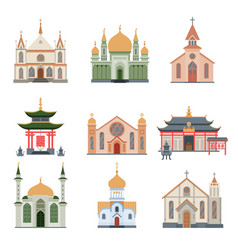 religious buildings collection different churches vector image