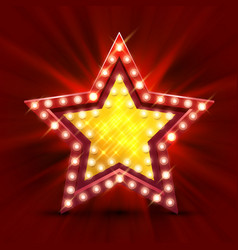 Retro light sign star finest hour vector