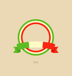 Ribbon and circle with flag of italy vector