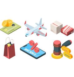 sale goods in online store isometric set vector image