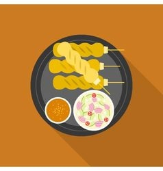 Satay grilled pork or meat with sauce vector image