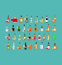 set different bottles alcohol drinks with vector image