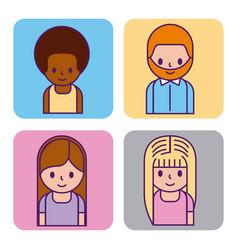 set of cartoon people avatar man and woman profile vector image