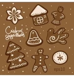 Set of cute christmas cookies hand drawn vector