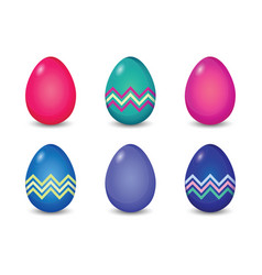 Set of solid and line pattern painted easter eggs vector