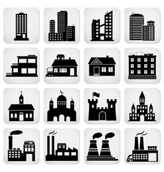 set various building icons vector image