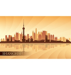 Shanghai city skyline silhouette background vector