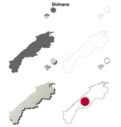 Shimane blank outline map set vector