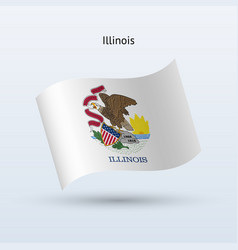 State of illinois flag waving form vector