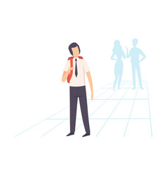 student in uniform standing with backpack school vector image