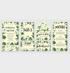 template set wedding invite invitation menu vector image