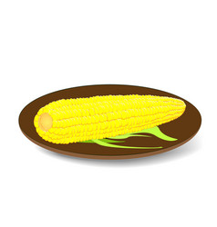 The cob corn on the plate vector
