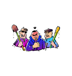 Three hooligans with a bat and a shovel the is vector