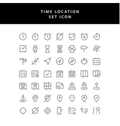 Time location outline icon set vector