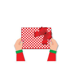 top view of woman hands holding gift box vector image