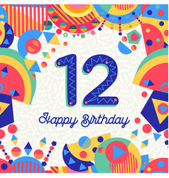 twelve 12 year birthday party greeting card number vector image