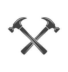 Two crossed hammers black on white flat logo vector
