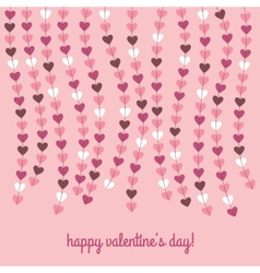Valentines day card with hanging hearts vector image