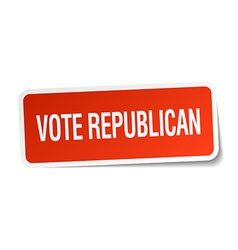 Vote republican red square sticker isolated on vector