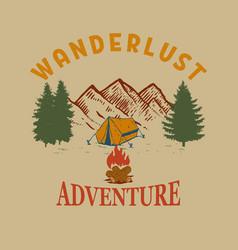 Wanderlust mountains with campfire design element vector