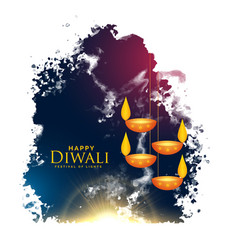 Watercolor splash with hanging diwali lamps vector