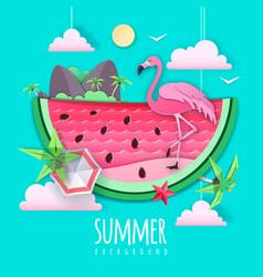 Watermelon slice with sea or osean landscape vector