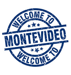 Welcome to montevideo blue stamp vector
