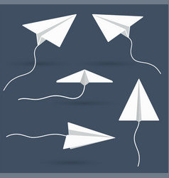 white paper airplanes on blue background vector image