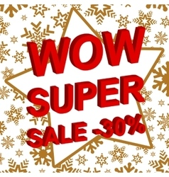 Winter sale poster with WOW SUPER SALE MINUS 30 vector image
