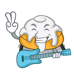 With guitar cinnamon roll mascot cartoon vector