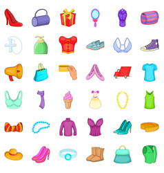 Woman shopping icons set cartoon style vector