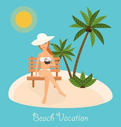 Woman sits on deckchair with cocktail in hand vector