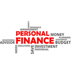 word cloud - personal finance vector image