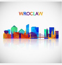 wroclaw skyline silhouette in colorful geometric vector image