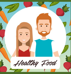 young couple with vegetables healthy food vector image