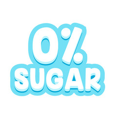 zero percent sugar typography for banner badge vector image