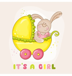 Baby Bunny in Carriage - for Baby Shower vector image vector image