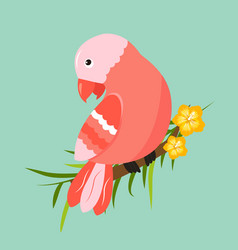 image of bright tropical bird on palm branch vector image vector image
