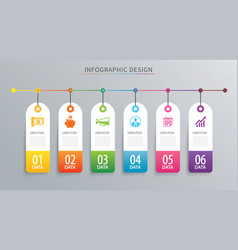 infographics tag banner 6 option template vector image vector image