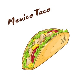isolated cartoon hand drawn fast food Mexican taco vector image