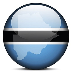 Map on flag button of Republic of Botswana vector image