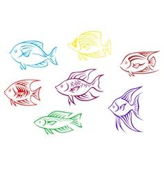 Set of seven aquarium fish silhouettes vector image