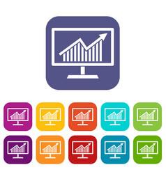 statistics on monitor icons set vector image