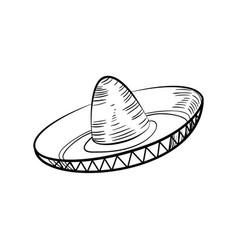 traditional mexican sketch sombrero vector image