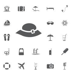 woman hat icon summer set vector image
